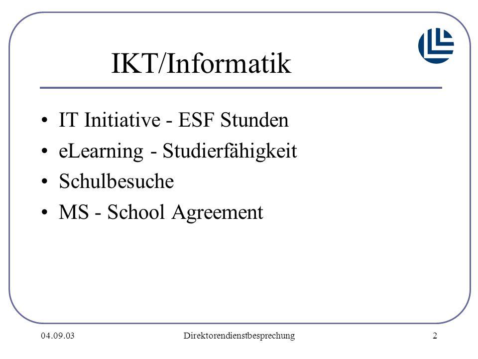 04.09.03Direktorendienstbesprechung2 IKT/Informatik IT Initiative - ESF Stunden eLearning - Studierfähigkeit Schulbesuche MS - School Agreement