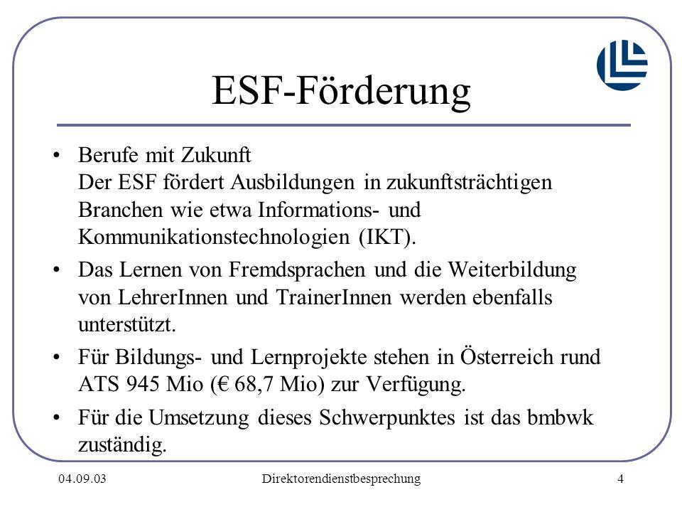04.09.03Direktorendienstbesprechung4 ESF-Förderung Berufe mit Zukunft Der ESF fördert Ausbildungen in zukunftsträchtigen Branchen wie etwa Informations- und Kommunikationstechnologien (IKT).