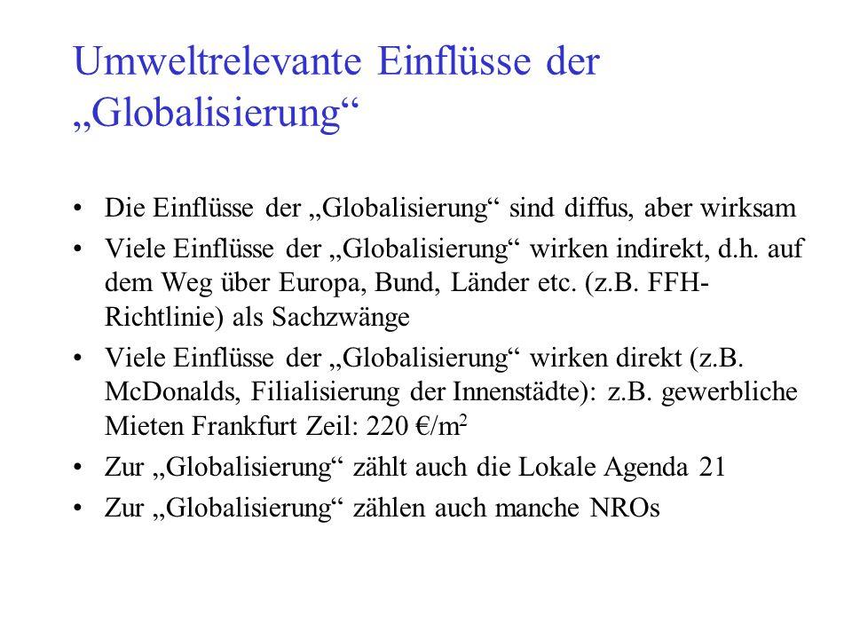 """Umweltrelevante Einflüsse der """"Globalisierung"""" Die Einflüsse der """"Globalisierung"""" sind diffus, aber wirksam Viele Einflüsse der """"Globalisierung"""" wirke"""