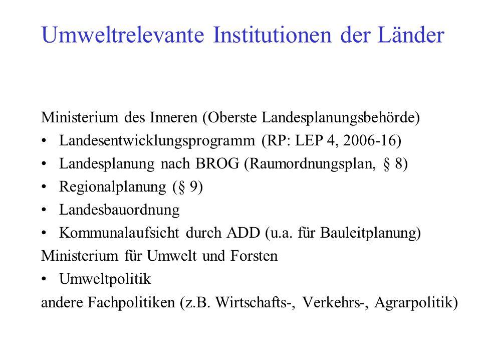 Umweltrelevante Institutionen der Länder Ministerium des Inneren (Oberste Landesplanungsbehörde) Landesentwicklungsprogramm (RP: LEP 4, 2006-16) Lande
