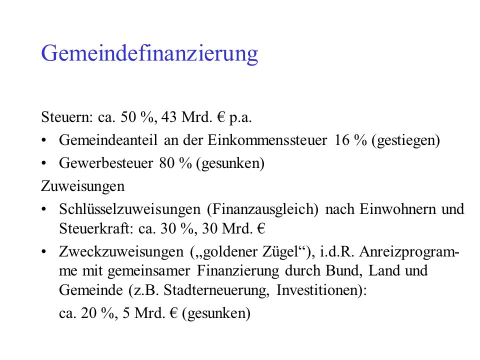 Gemeindefinanzierung Steuern: ca. 50 %, 43 Mrd. € p.a. Gemeindeanteil an der Einkommenssteuer 16 % (gestiegen) Gewerbesteuer 80 % (gesunken) Zuweisung