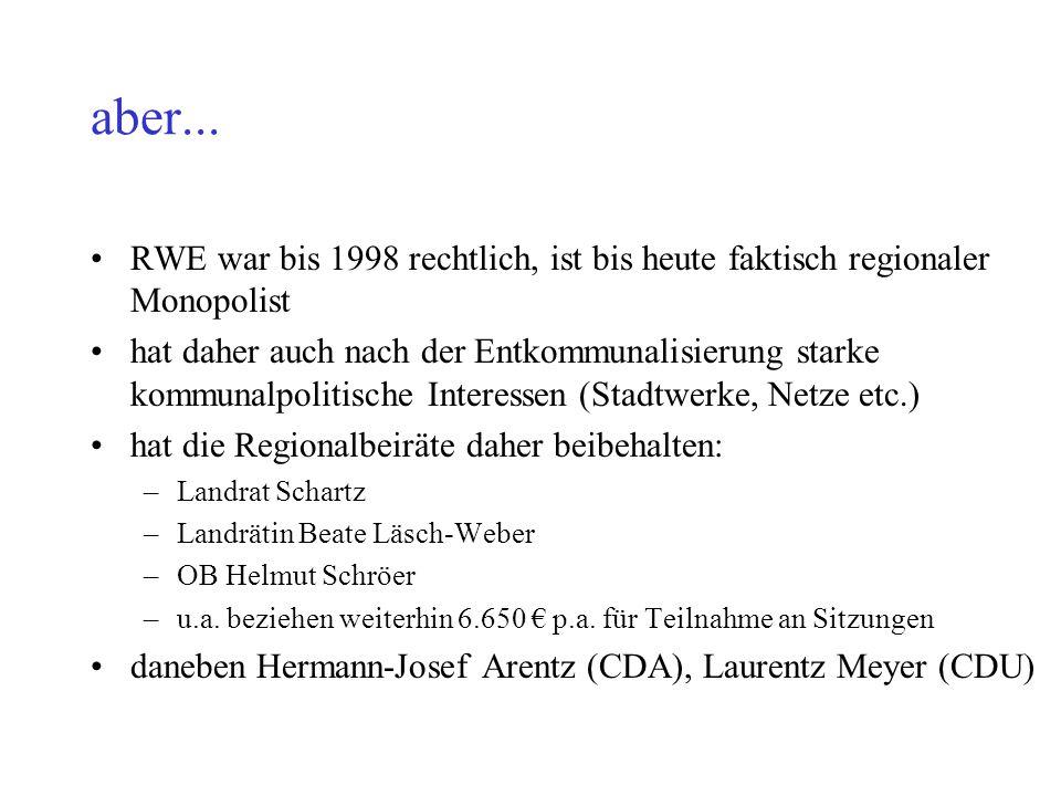 aber... RWE war bis 1998 rechtlich, ist bis heute faktisch regionaler Monopolist hat daher auch nach der Entkommunalisierung starke kommunalpolitische