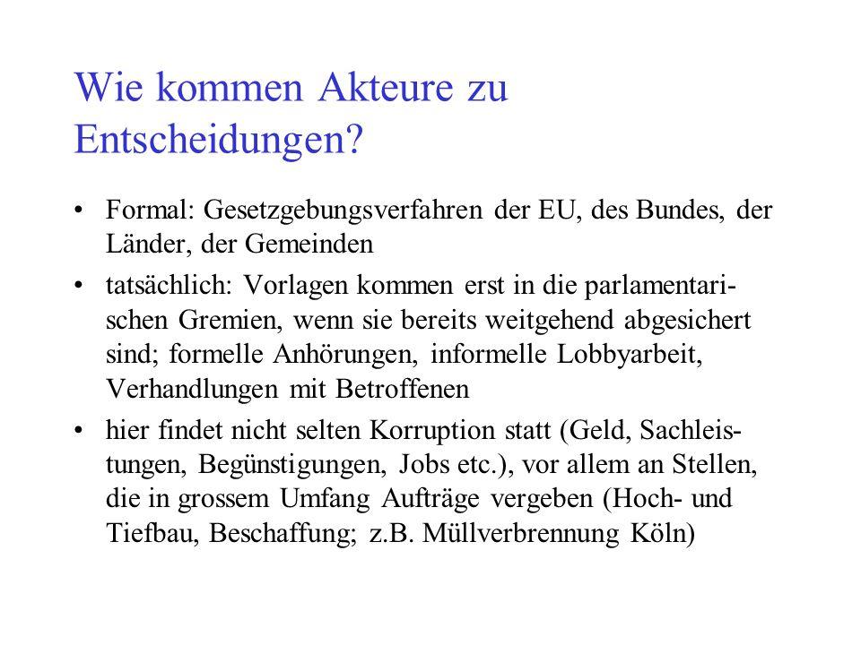 Wie kommen Akteure zu Entscheidungen? Formal: Gesetzgebungsverfahren der EU, des Bundes, der Länder, der Gemeinden tatsächlich: Vorlagen kommen erst i