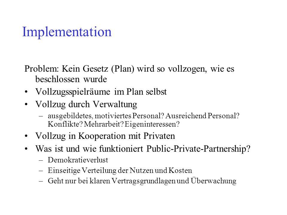 Implementation Problem: Kein Gesetz (Plan) wird so vollzogen, wie es beschlossen wurde Vollzugsspielräume im Plan selbst Vollzug durch Verwaltung –aus