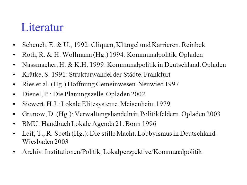 Literatur Scheuch, E. & U., 1992: Cliquen, Klüngel und Karrieren. Reinbek Roth, R. & H. Wollmann (Hg.) 1994: Kommunalpolitik. Opladen Nassmacher, H. &