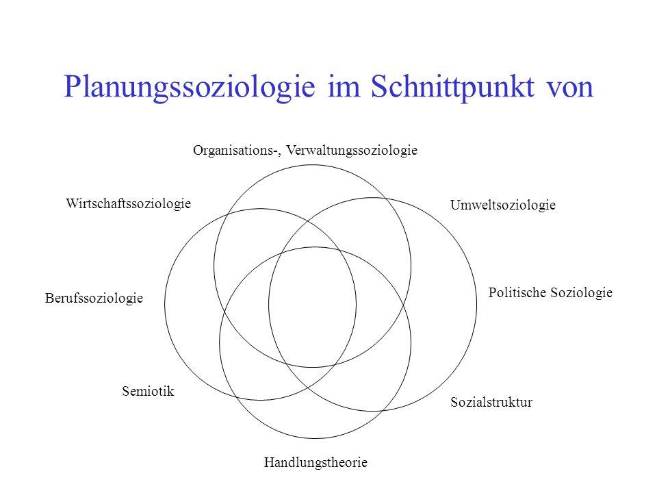 Planungssoziologie im Schnittpunkt von Politische Soziologie Organisations-, Verwaltungssoziologie Berufssoziologie Handlungstheorie Wirtschaftssoziol