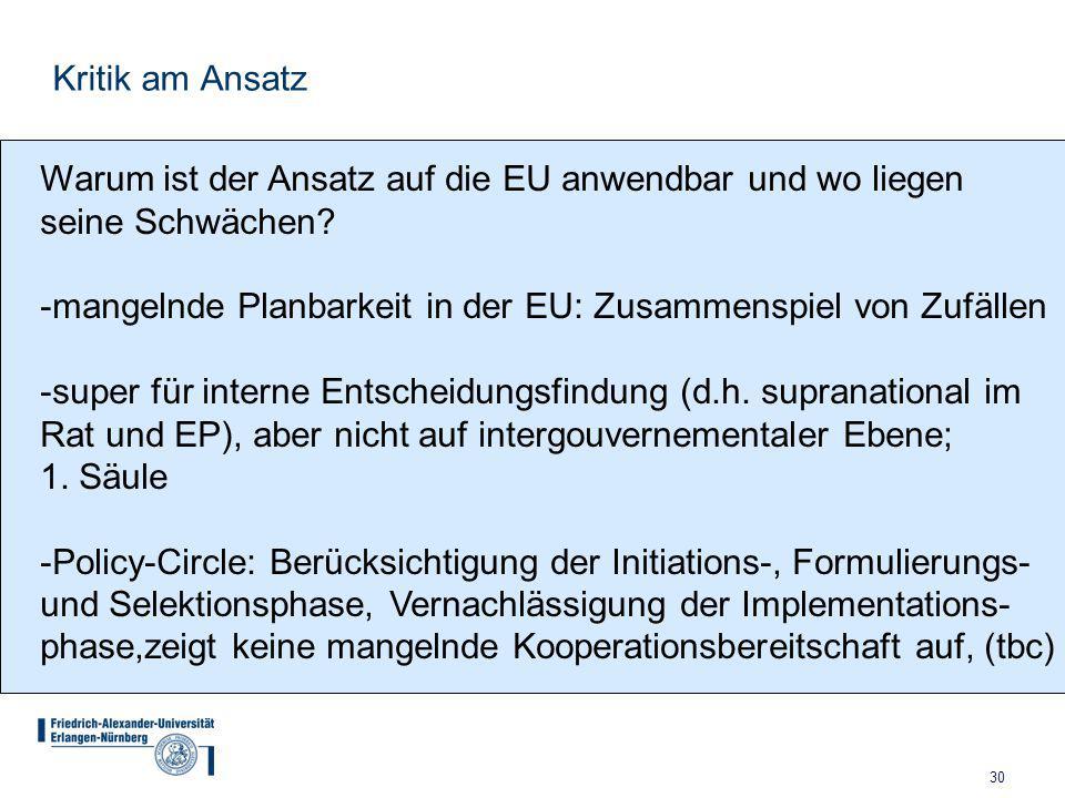 30 Kritik am Ansatz Warum ist der Ansatz auf die EU anwendbar und wo liegen seine Schwächen.