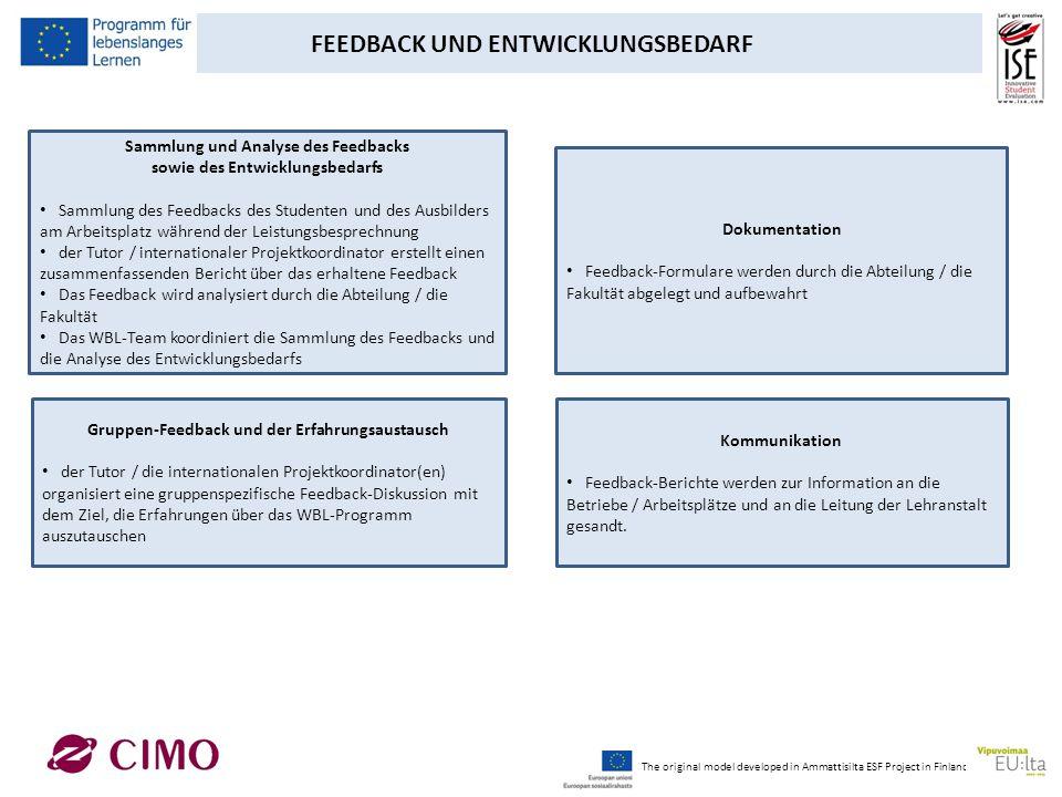 FEEDBACK UND ENTWICKLUNGSBEDARF Sammlung und Analyse des Feedbacks sowie des Entwicklungsbedarfs Sammlung des Feedbacks des Studenten und des Ausbilde