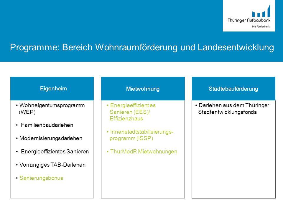 Programme: Bereich Wohnraumförderung und Landesentwicklung Eigenheim Wohneigentumsprogramm (WEP) Familienbaudarlehen Modernisierungsdarlehen Energieef
