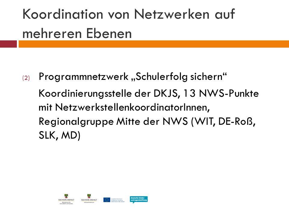 """Koordination von Netzwerken auf mehreren Ebenen (2) Programmnetzwerk """"Schulerfolg sichern"""" Koordinierungsstelle der DKJS, 13 NWS-Punkte mit Netzwerkst"""