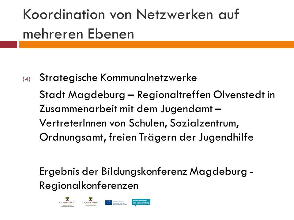 Koordination von Netzwerken auf mehreren Ebenen (4) Strategische Kommunalnetzwerke Stadt Magdeburg – Regionaltreffen Olvenstedt in Zusammenarbeit mit