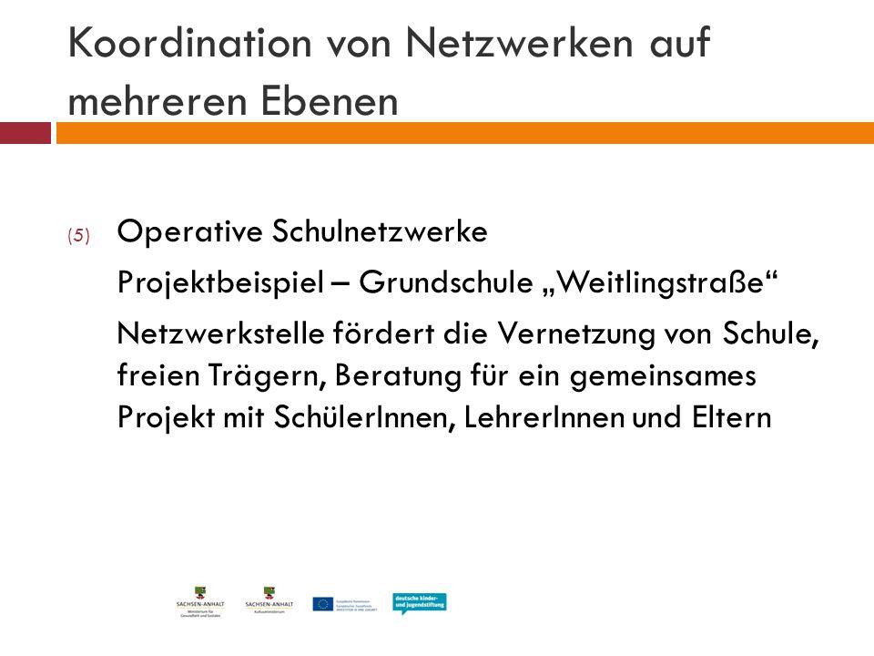 """Koordination von Netzwerken auf mehreren Ebenen (5) Operative Schulnetzwerke Projektbeispiel – Grundschule """"Weitlingstraße"""" Netzwerkstelle fördert die"""