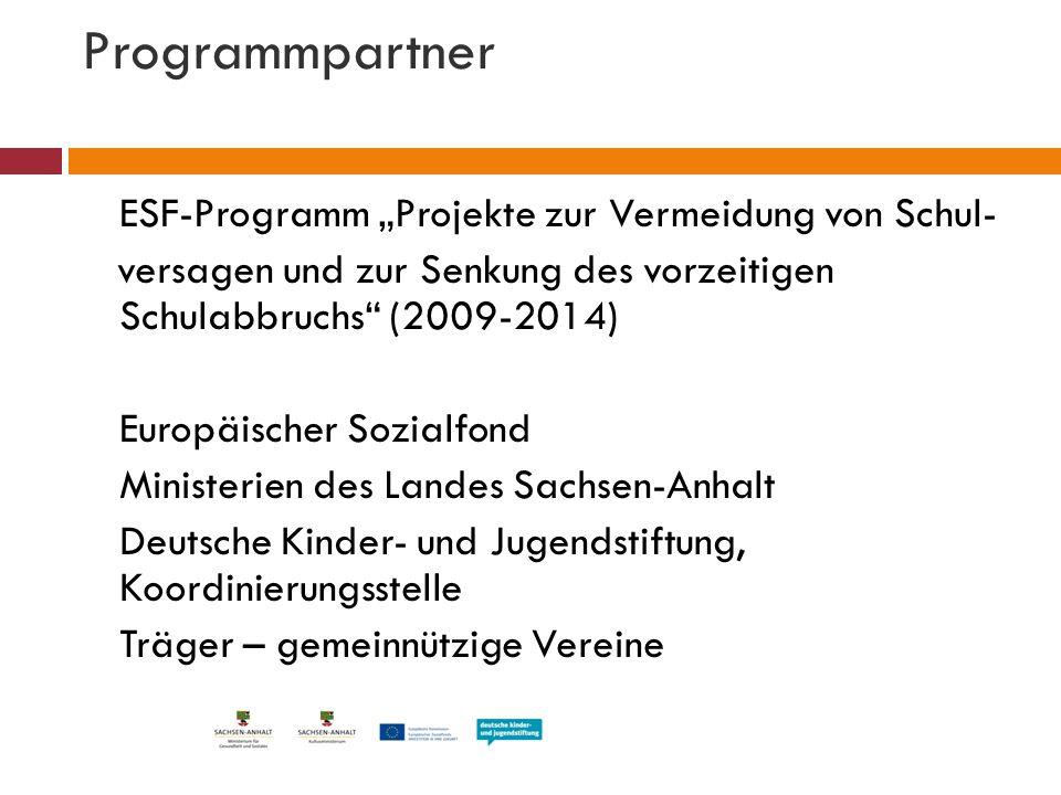 """Programmpartner ESF-Programm """"Projekte zur Vermeidung von Schul- versagen und zur Senkung des vorzeitigen Schulabbruchs"""" (2009-2014) Europäischer Sozi"""