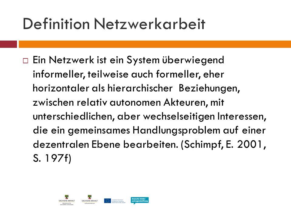 Definition Netzwerkarbeit  Ein Netzwerk ist ein System überwiegend informeller, teilweise auch formeller, eher horizontaler als hierarchischer Bezieh