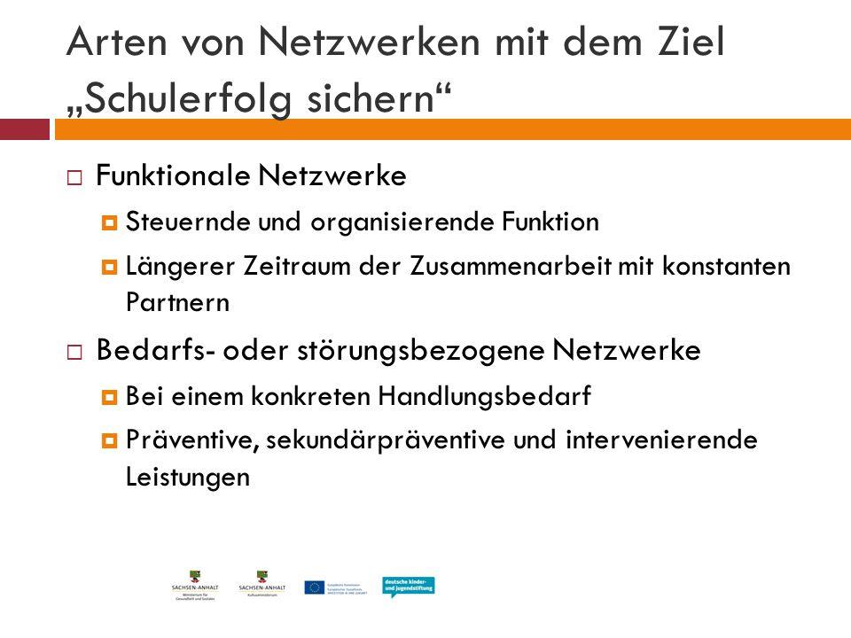 Funktionales Netzwerk  Beteiligung von relevanten Partnern im Jugendhilfe- und Bildungsbereich  Vernetzende Gremienarbeit, z.