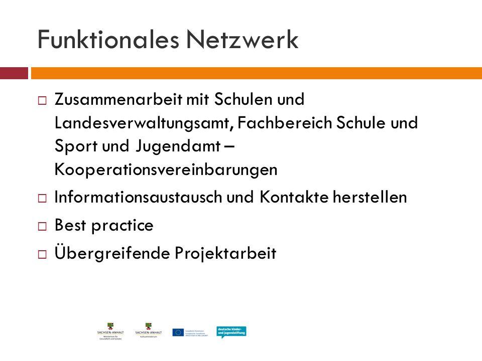 Funktionales Netzwerk  Zusammenarbeit mit Schulen und Landesverwaltungsamt, Fachbereich Schule und Sport und Jugendamt – Kooperationsvereinbarungen 