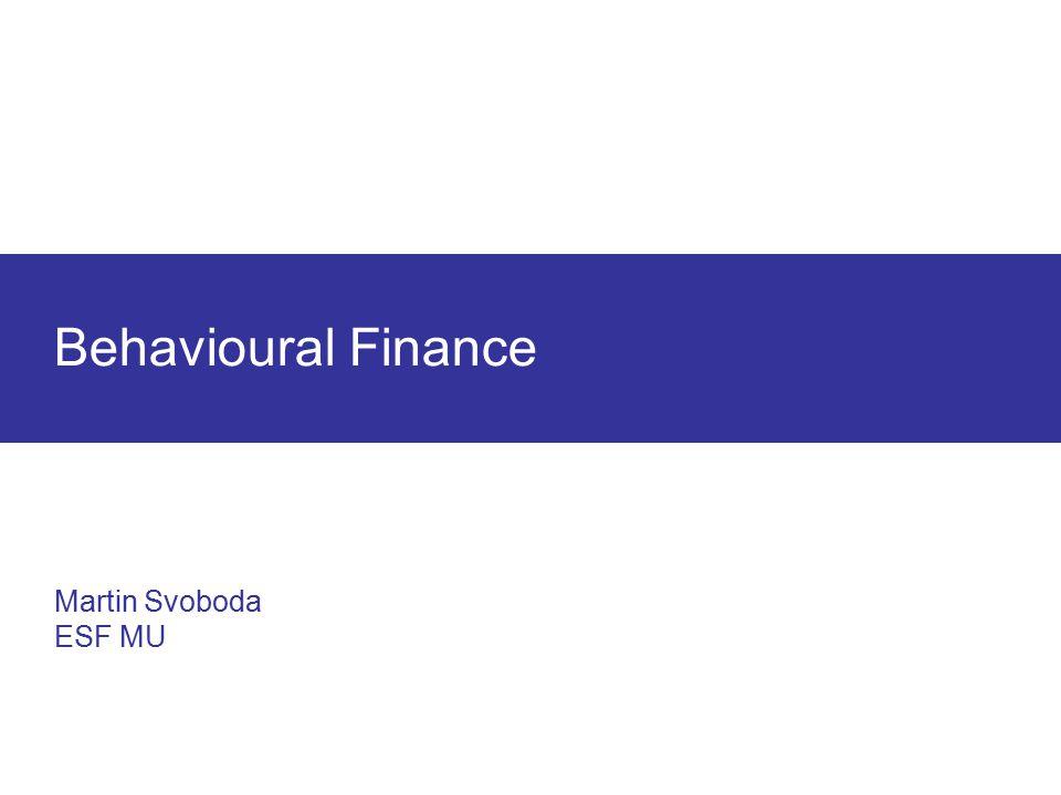 Profitabler Traum: Einfach den schlechtesten Monat eliminieren Behavioural Finance Martin Svoboda ESF MU