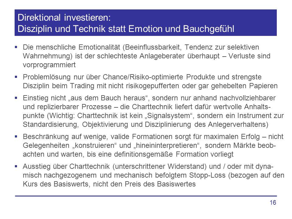 16 Direktional investieren: Disziplin und Technik statt Emotion und Bauchgefühl  Die menschliche Emotionalität (Beeinflussbarkeit, Tendenz zur selekt