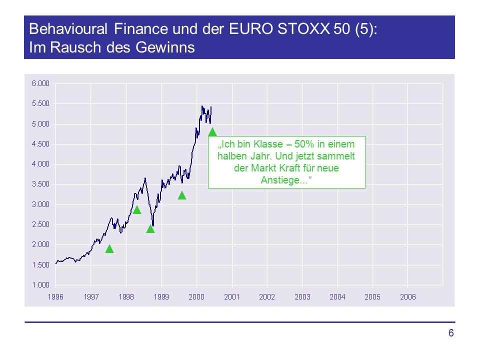 """6 Behavioural Finance und der EURO STOXX 50 (5): Im Rausch des Gewinns """"Ich bin Klasse – 50% in einem halben Jahr. Und jetzt sammelt der Markt Kraft f"""