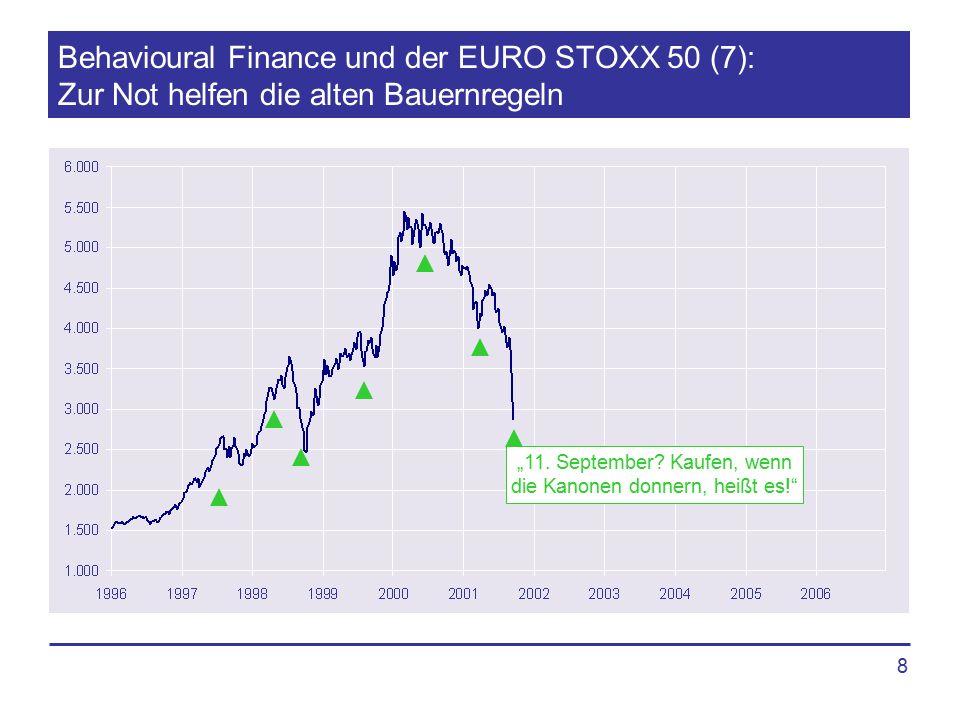 """8 Behavioural Finance und der EURO STOXX 50 (7): Zur Not helfen die alten Bauernregeln """"11. September? Kaufen, wenn die Kanonen donnern, heißt es!"""""""