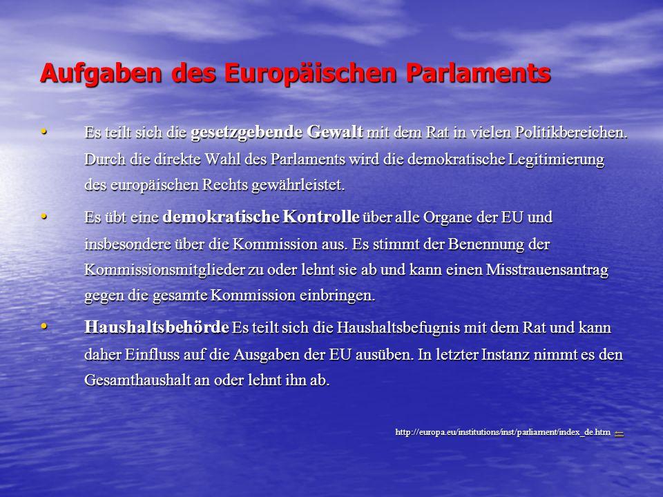 Aufgaben des Europäischen Parlaments Es teilt sich die gesetzgebende Gewalt mit dem Rat in vielen Politikbereichen. Durch die direkte Wahl des Parlame
