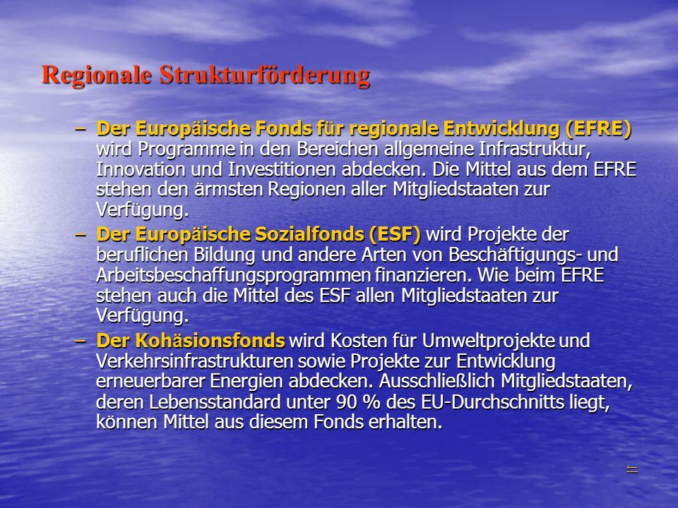 Regionale Strukturförderung –Der Europ ä ische Fonds f ü r regionale Entwicklung (EFRE) wird Programme in den Bereichen allgemeine Infrastruktur, Inno