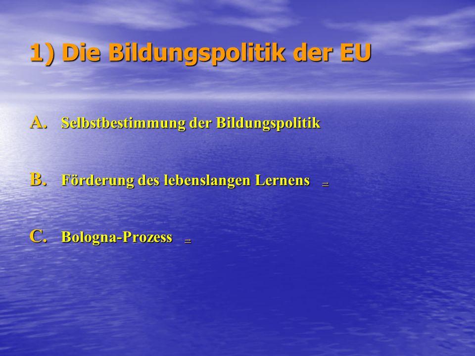 1) Die Bildungspolitik der EU A. Selbstbestimmung der Bildungspolitik B. Förderung des lebenslangen Lernens → → C. Bologna-Prozess → →