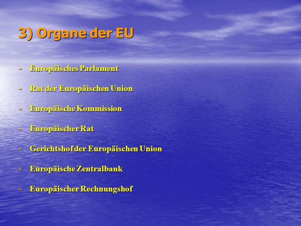 3) Organe der EU - Europäisches Parlament - Rat der Europäischen Union - Europäische Kommission - Europäischer Rat - Gerichtshof der Europäischen Unio