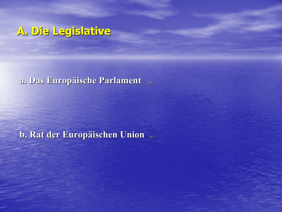 A. Die Legislative a. Das Europäische Parlament → → b. Rat der Europäischen Union → →