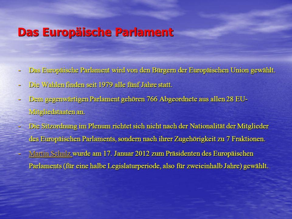 Das Europäische Parlament - Das Europäische Parlament wird von den Bürgern der Europäischen Union gewählt. - Die Wahlen finden seit 1979 alle fünf Jah