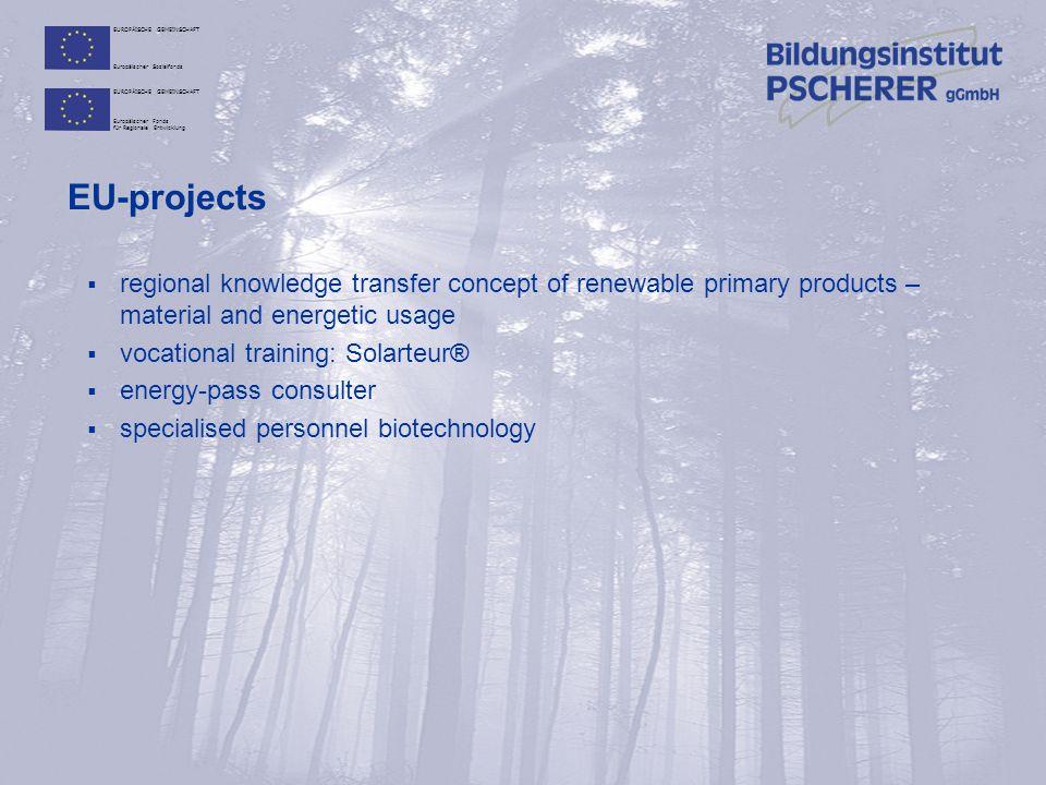 EUROPÄISCHE GEMEINSCHAFT Europäischer Sozialfonds EUROPÄISCHE GEMEINSCHAFT Europäischer Fonds für Regionale Entwicklung EU-projects  projects within