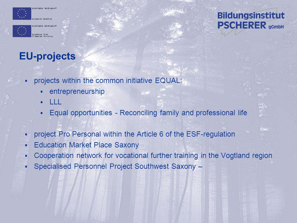 EUROPÄISCHE GEMEINSCHAFT Europäischer Sozialfonds EUROPÄISCHE GEMEINSCHAFT Europäischer Fonds für Regionale Entwicklung certification  accredited by