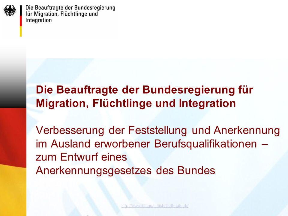 http://www.integrationsbeauftragte.de Die Beauftragte der Bundesregierung für Migration, Flüchtlinge und Integration Verbesserung der Feststellung und