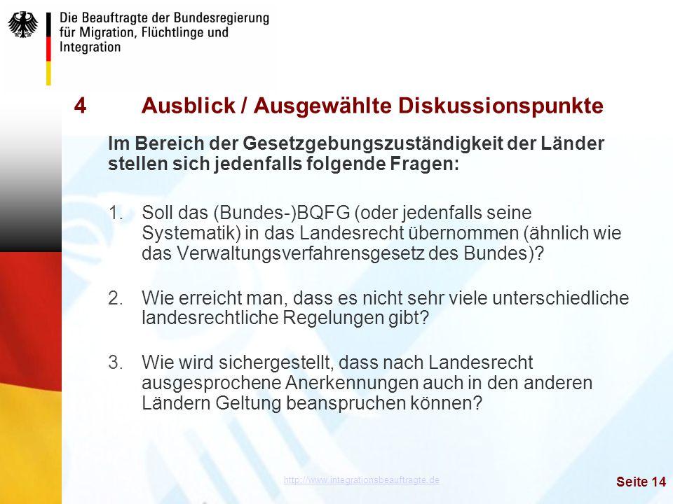 http://www.integrationsbeauftragte.de Seite 14 4Ausblick / Ausgewählte Diskussionspunkte Im Bereich der Gesetzgebungszuständigkeit der Länder stellen
