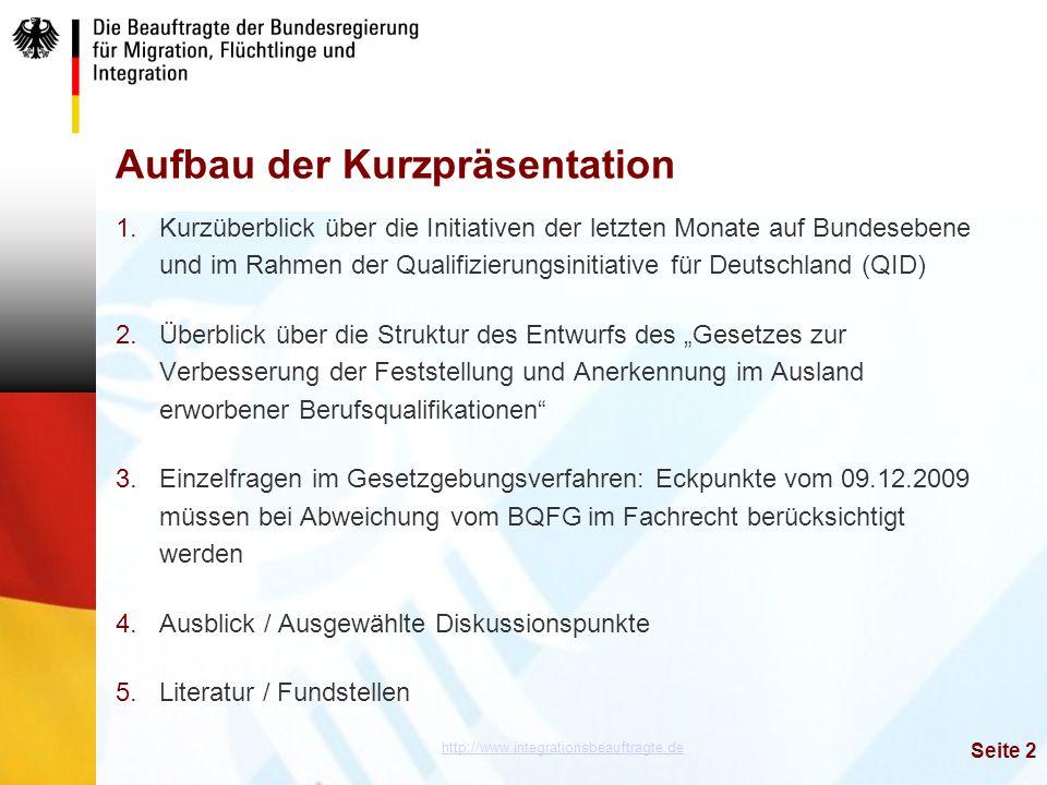 http://www.integrationsbeauftragte.de Seite 2 Aufbau der Kurzpräsentation 1.Kurzüberblick über die Initiativen der letzten Monate auf Bundesebene und
