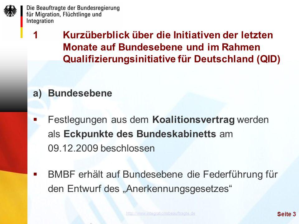 http://www.integrationsbeauftragte.de Seite 3 1Kurzüberblick über die Initiativen der letzten Monate auf Bundesebene und im Rahmen Qualifizierungsinit
