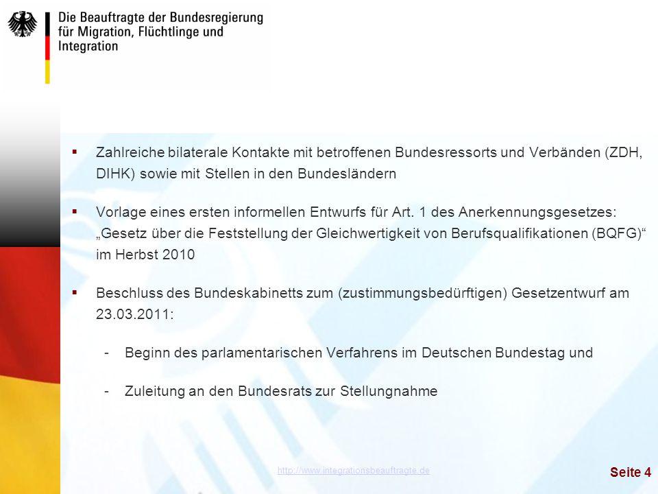 http://www.integrationsbeauftragte.de Seite 4  Zahlreiche bilaterale Kontakte mit betroffenen Bundesressorts und Verbänden (ZDH, DIHK) sowie mit Stel