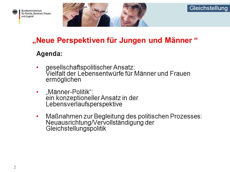 """Gleichstellung 2 """"Neue Perspektiven für Jungen und Männer """" Agenda: gesellschaftspolitischer Ansatz: Vielfalt der Lebensentwürfe für Männer und Frauen"""