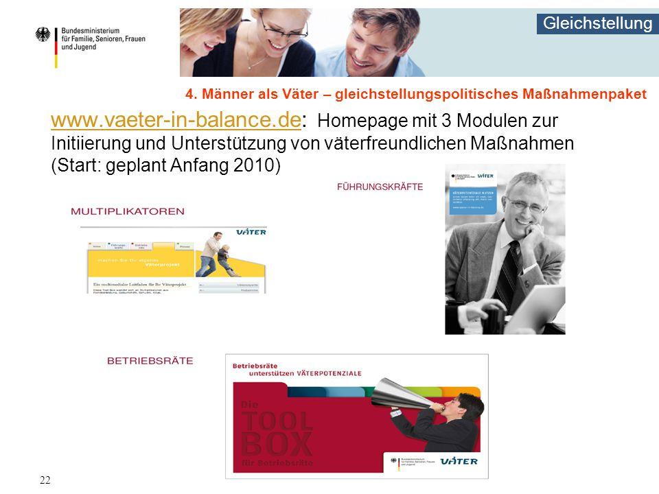 Gleichstellung 22 www.vaeter-in-balance.dewww.vaeter-in-balance.de: Homepage mit 3 Modulen zur Initiierung und Unterstützung von väterfreundlichen Maßnahmen (Start: geplant Anfang 2010) 4.