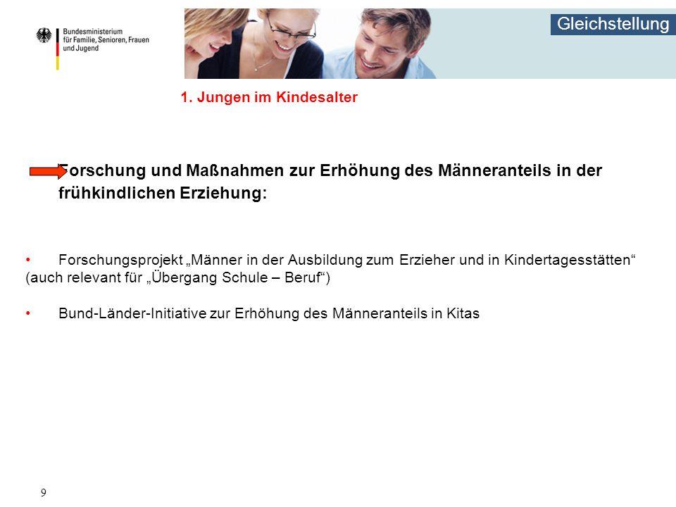 """Gleichstellung 9 1. Jungen im Kindesalter Forschung und Maßnahmen zur Erhöhung des Männeranteils in der frühkindlichen Erziehung: Forschungsprojekt """"M"""