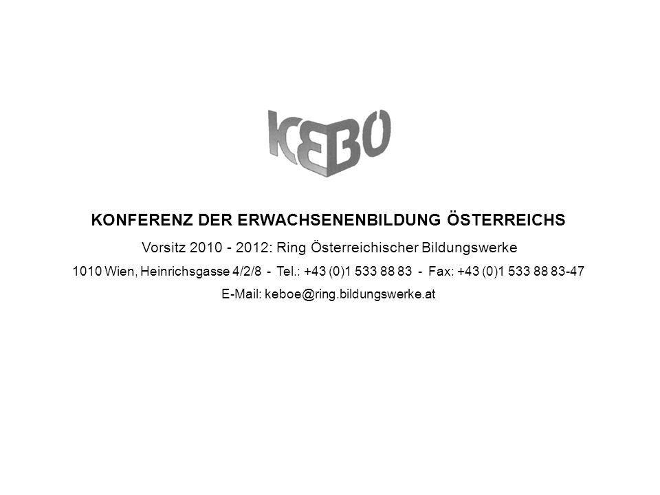 KEBÖ-Präsentation Angela Bergauer KEBÖ-Vorsitz 2010 - 2012 32 Wirtschaftsförderungsinstitut der Wirtschaftskammer Strategische Ziele Breites Angebot an beruflicher Weiterbildung (überbetrieblich, Firmen-intern, im Auftrag des AMS) Sicherstellung der Durchlässigkeit im österr.