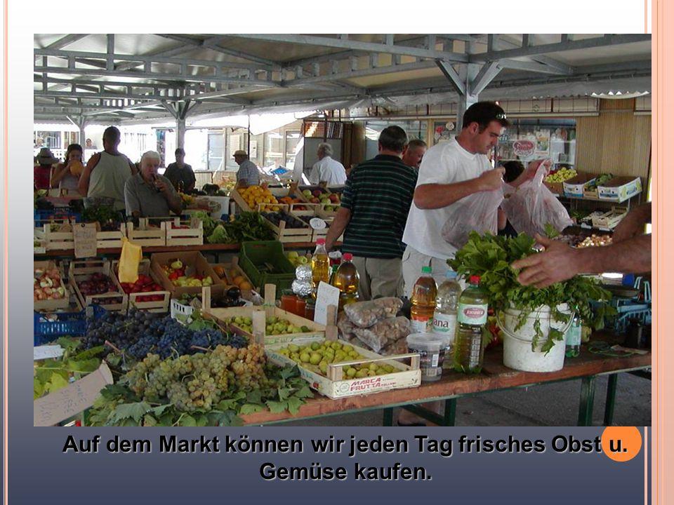 Auf dem Markt können wir jeden Tag frisches Obst u. Gemüse kaufen.