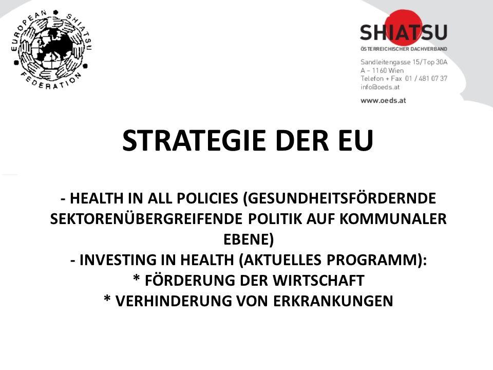- HEALTH IN ALL POLICIES (GESUNDHEITSFÖRDERNDE SEKTORENÜBERGREIFENDE POLITIK AUF KOMMUNALER EBENE) - INVESTING IN HEALTH (AKTUELLES PROGRAMM): * FÖRDERUNG DER WIRTSCHAFT * VERHINDERUNG VON ERKRANKUNGEN STRATEGIE DER EU