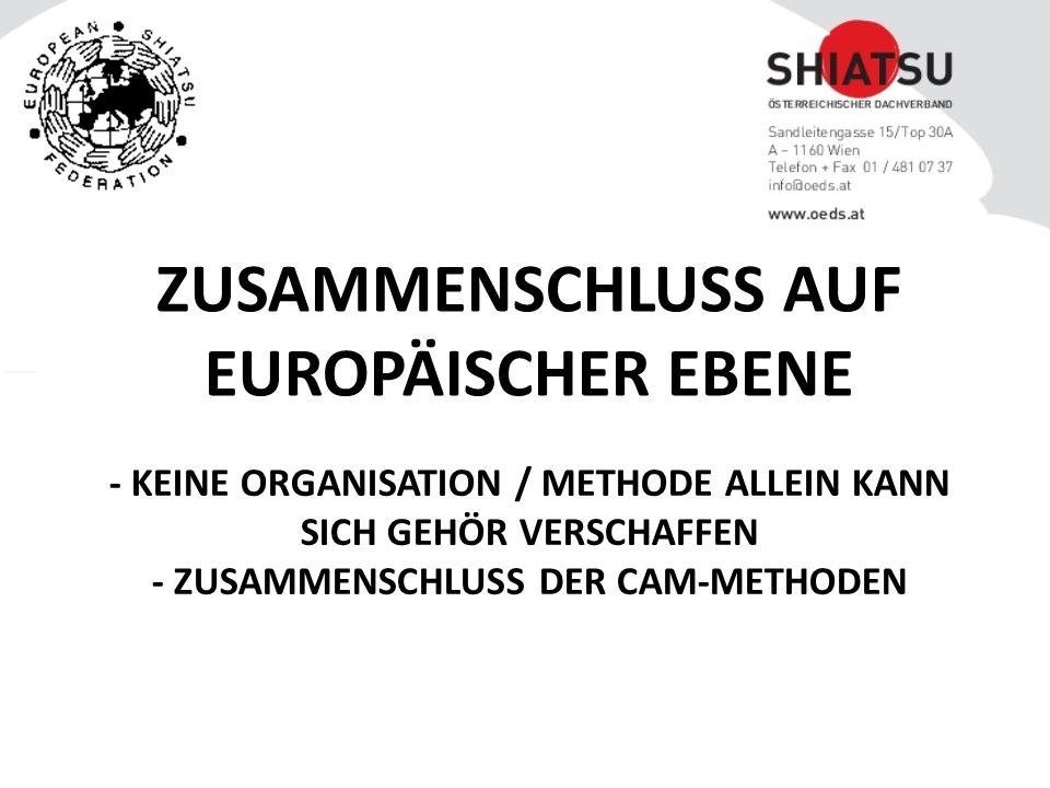- KEINE ORGANISATION / METHODE ALLEIN KANN SICH GEHÖR VERSCHAFFEN - ZUSAMMENSCHLUSS DER CAM-METHODEN ZUSAMMENSCHLUSS AUF EUROPÄISCHER EBENE