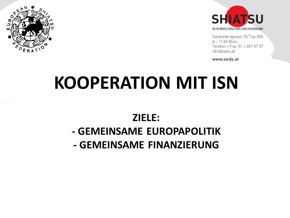 ZIELE: - GEMEINSAME EUROPAPOLITIK - GEMEINSAME FINANZIERUNG KOOPERATION MIT ISN