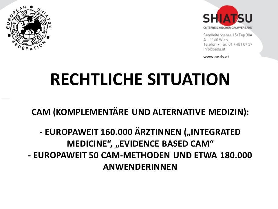 """CAM (KOMPLEMENTÄRE UND ALTERNATIVE MEDIZIN): - EUROPAWEIT 160.000 ÄRZTINNEN (""""INTEGRATED MEDICINE , """"EVIDENCE BASED CAM - EUROPAWEIT 50 CAM-METHODEN UND ETWA 180.000 ANWENDERINNEN RECHTLICHE SITUATION"""