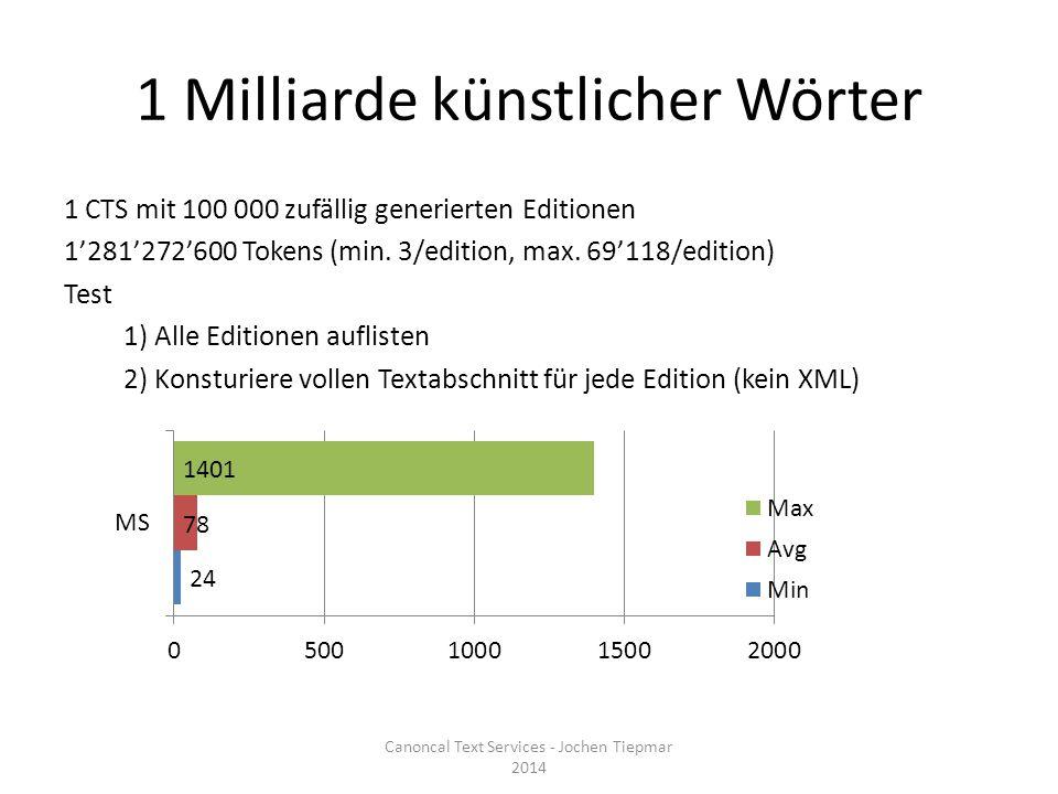 1 Milliarde künstlicher Wörter 1 CTS mit 100 000 zufällig generierten Editionen 1'281'272'600 Tokens (min.