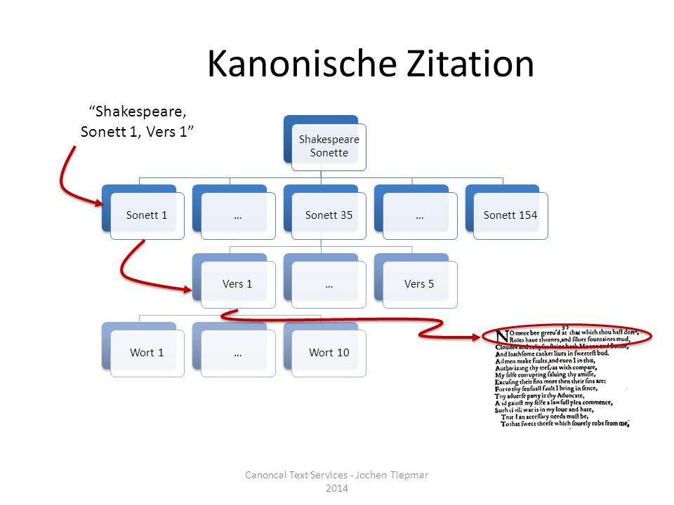 Kanonische Zitation Shakespeare Sonette Sonett 1…Sonett 35Vers 1Wort 1…Wort 10…Vers 5…Sonett 154 Shakespeare, Sonett 1, Vers 1