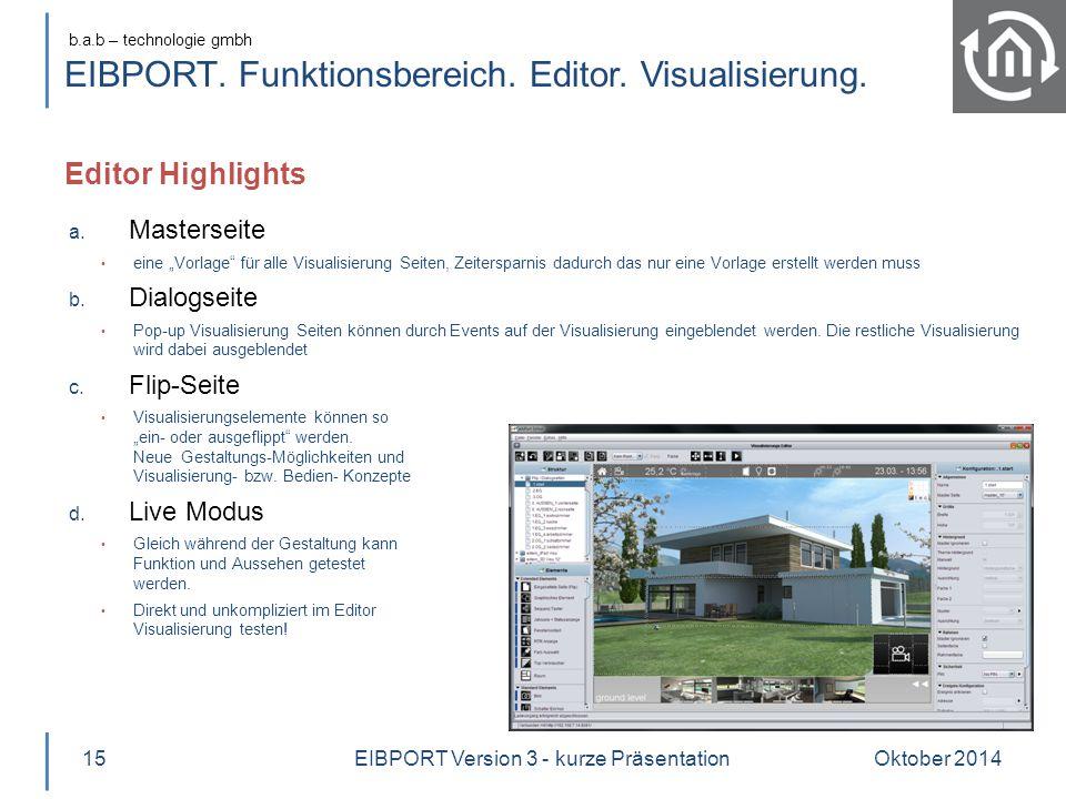 """b.a.b – technologie gmbh EIBPORT. Funktionsbereich. Editor. Visualisierung. Editor Highlights Oktober 201415 a. Masterseite eine """"Vorlage"""" für alle Vi"""