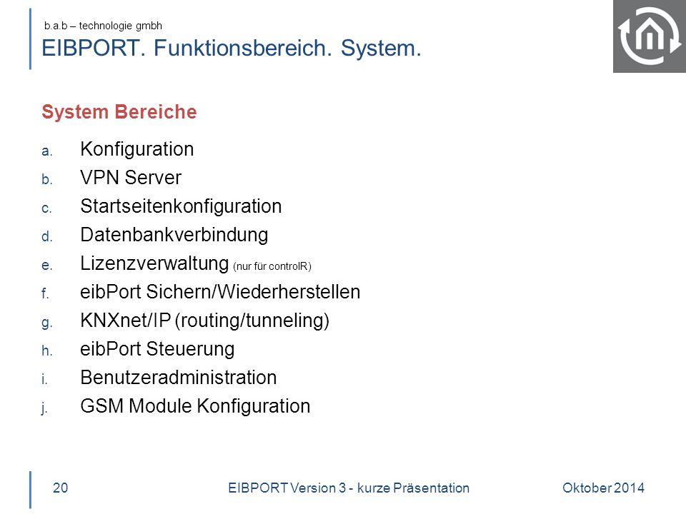 b.a.b – technologie gmbh EIBPORT. Funktionsbereich. System. System Bereiche Oktober 201420 a. Konfiguration b. VPN Server c. Startseitenkonfiguration